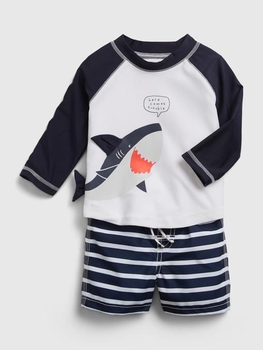 Erkek Bebek Mavi Grafik Desenli Mayo Seti