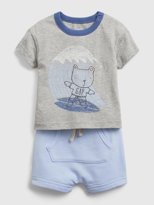 Erkek Bebek gri Brannan Bear Grafik Desenli Takım