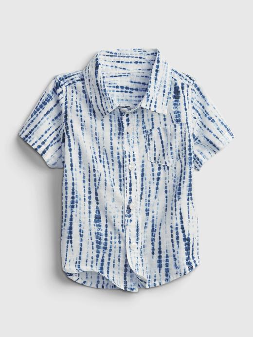 Erkek Bebek Mavi Tie-Dye Gömlek