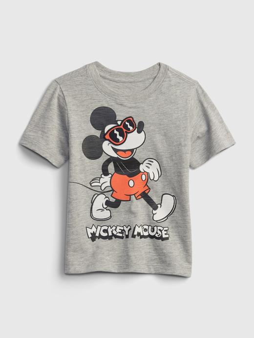 Erkek Bebek Gri Disney Mickey Mouse 3D Grafik Desenli T-Shirt