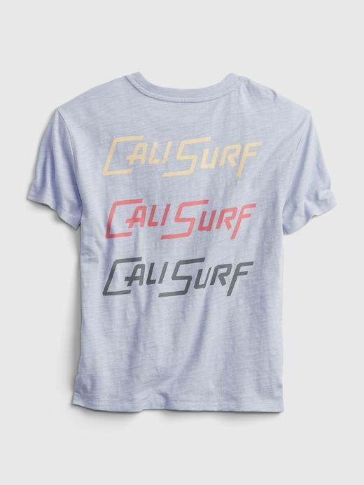 Erkek Çocuk Mavi Grafik Desenli T-Shirt