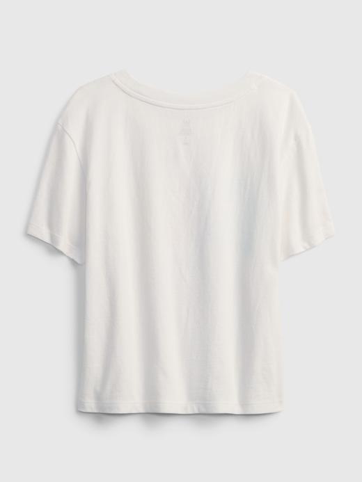 Kız Çocuk Beyaz Organik Pamuklu Grafik Desenli T-Shirt