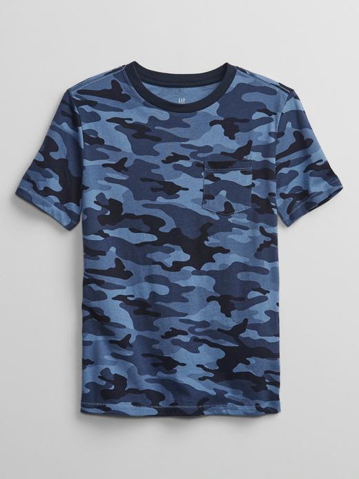 Erkek Çocuk Mavi Kamuflaj Desenli T-Shirt