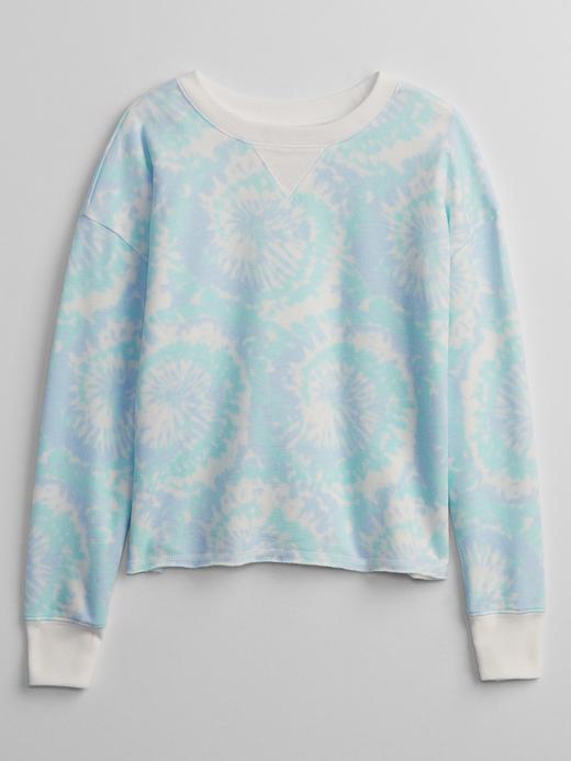Kız Çocuk Mavi Desenli Sweatshirt