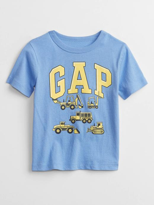 Erkek Bebek Mavi Gap Logo Grafik Desenli T-Shirt