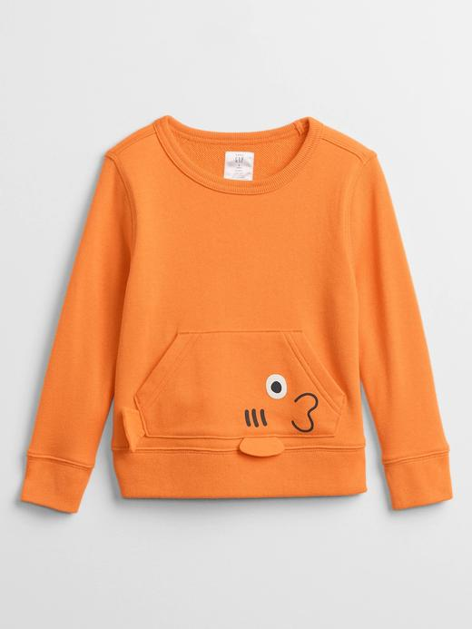 Erkek Bebek Turuncu Grafik Desenli Sweatshirt