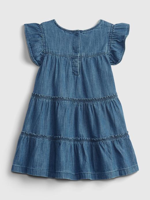Kız Bebek Lacivert Kayık Yaka Denim Elbise