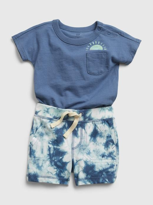 Erkek Bebek Mavi Tie-Dye Takım