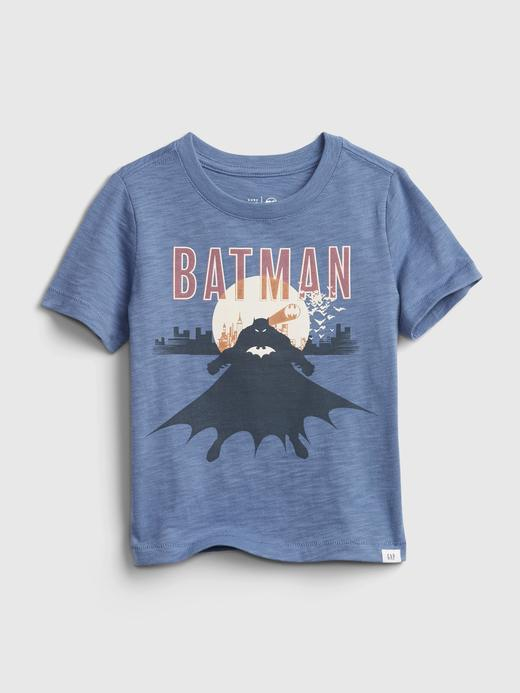 Erkek Bebek Mavi Batman  Grafik Desenli T-Shirt