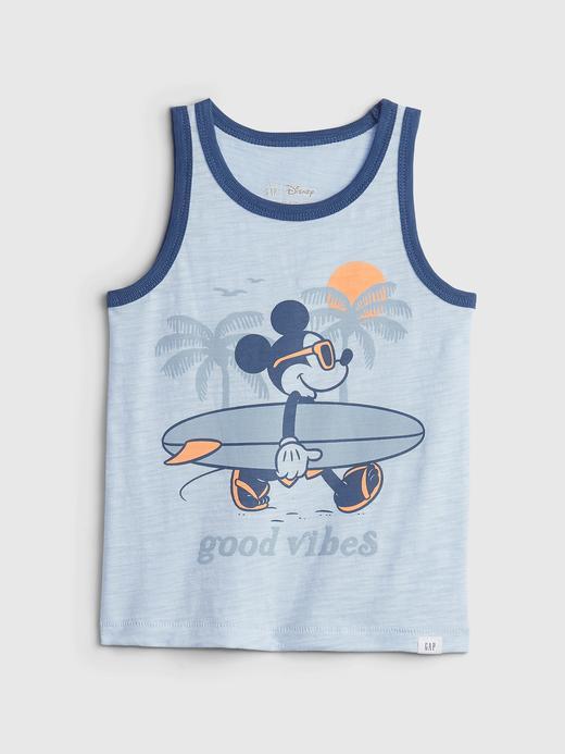 Erkek Bebek Mavi Disney Mickey Mouse Grafik Desenli T-Shirt