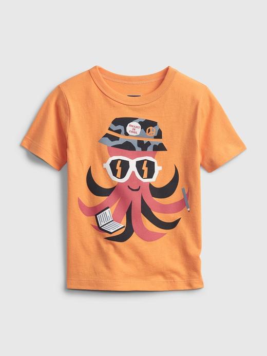 Erkek Bebek Turuncu Organik Pamuk  Grafik Desenli T-Shirt