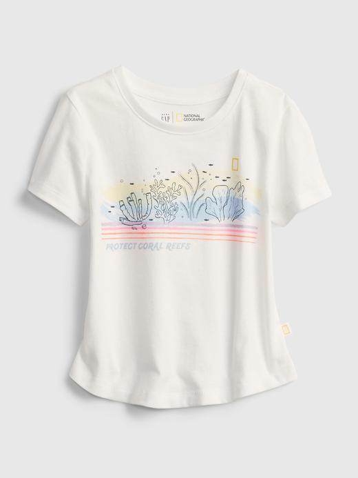 Kız Bebek Beyaz National Geographic Organik Pamuklu T-Shirt