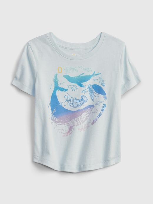 Kız Bebek Mavi National Geographic Organik Pamuklu T-Shirt