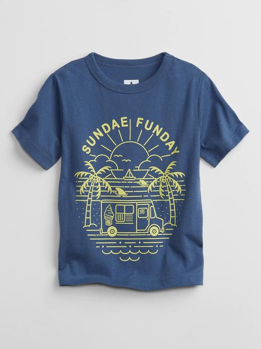 Erkek Bebek lacivert Grafik Desenli T-Shirt