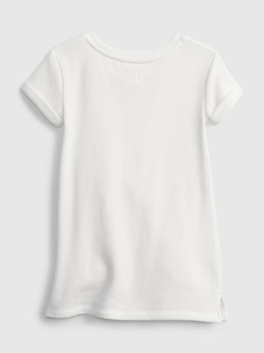 Kız Bebek Beyaz Grafik Desenli T-Shirt Elbise