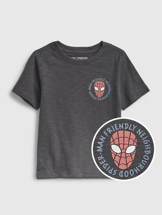 Erkek Bebek Gri Marvel Grafik Desenli T-Shirt