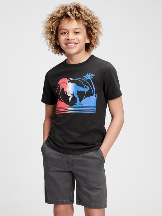 Erkek Çocuk Siyah Oranik Pamuklu Grafik Desenli T-Shirt