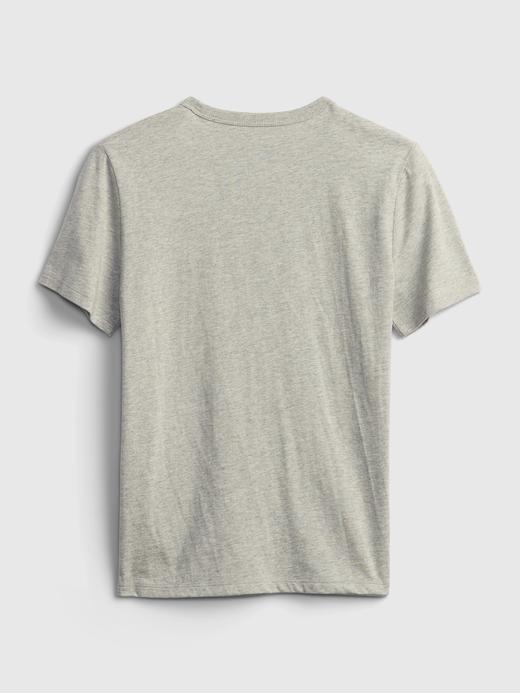 Erkek Çocuk Gri Oranik Pamuklu Grafik Desenli T-Shirt