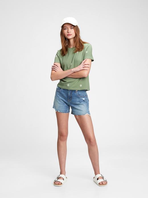 Kadın Mavi Grafik Desenli T-Shirt