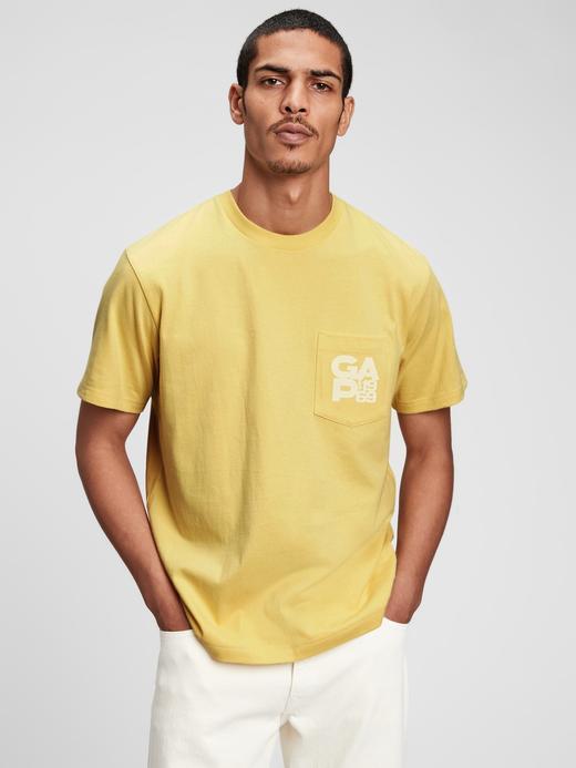 Erkek Sarı Organik Pamuklu Gap Logo T-Shirt