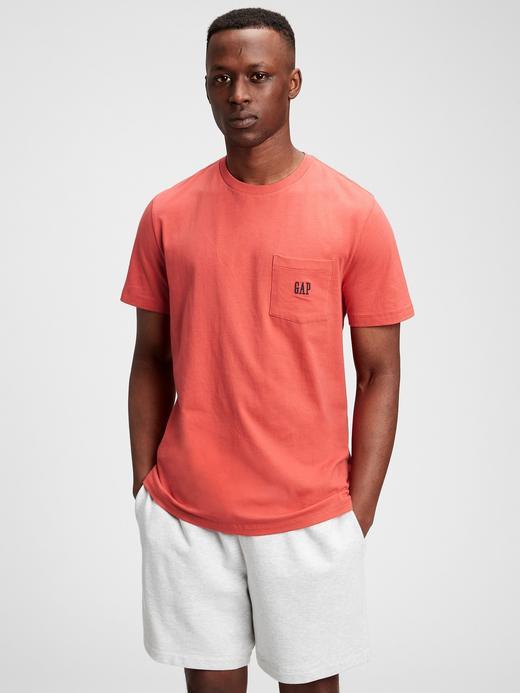Erkek Pembe Oranik Pamuklu Gap Logo T-Shirt