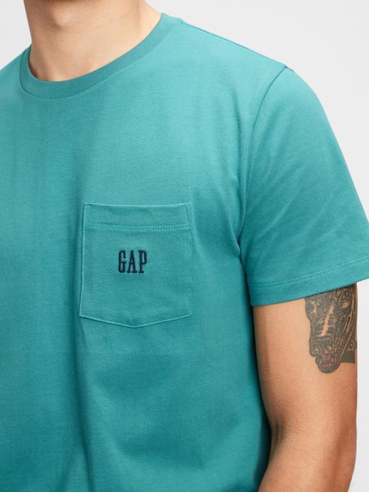 Erkek Bej Oranik Pamuklu Gap Logo T-Shirt
