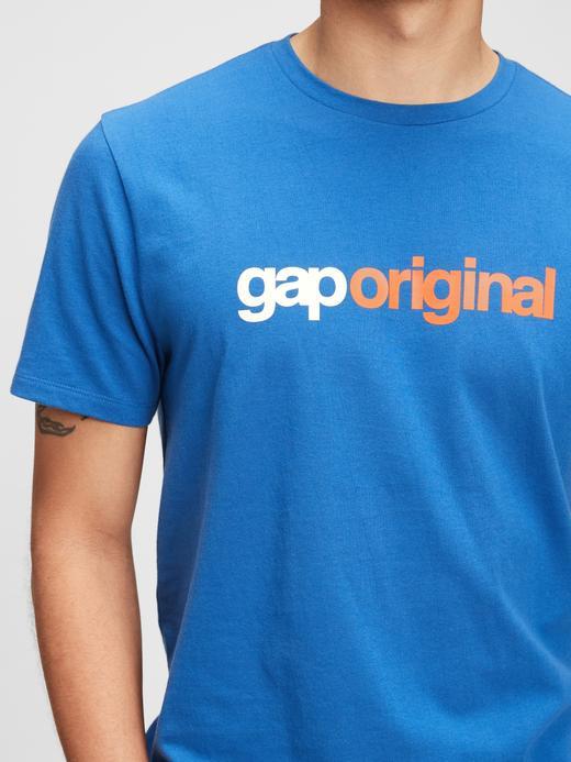Erkek Mavi Organik Pamuk  Gap Logo  T-Shirt