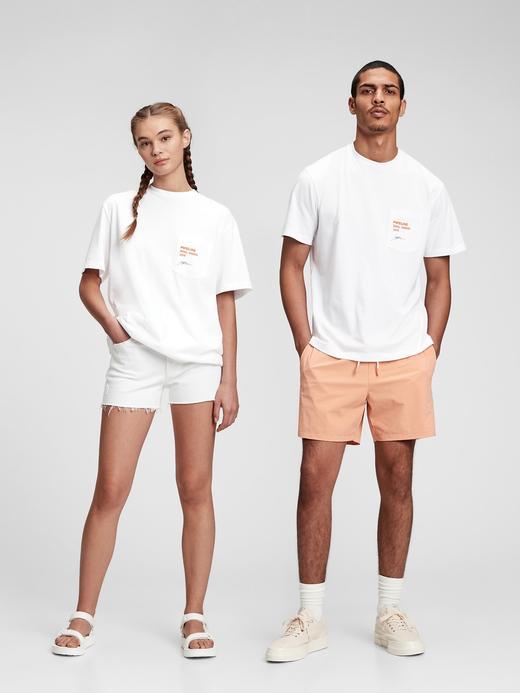 Erkek Beyaz Organik Pamuklu Grafik Desenli T-Shirt