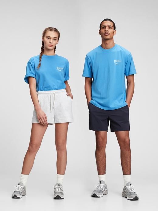 Erkek Mavi Organik Pamuklu Grafik Desenli T-Shirt