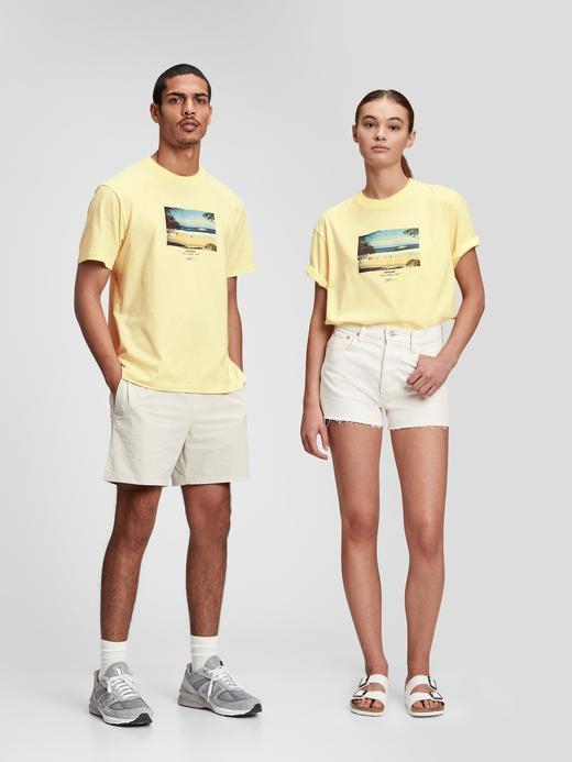 Erkek Sarı Organik Pamuklu Grafik Desenli T-Shirt