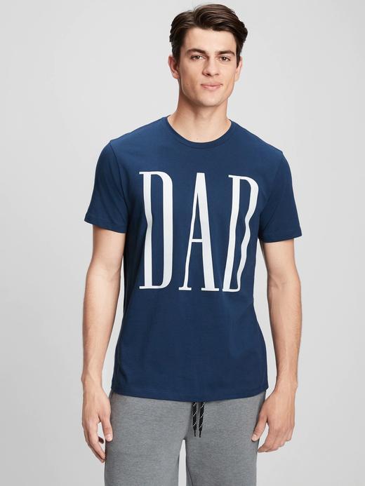 Erkek Mavi Dad Graphic T-Shirt