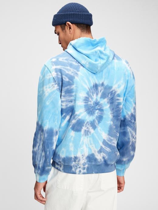 Erkek Gri %100 Pamuk Tie-Dye Kapüşonlu Sweatshirt