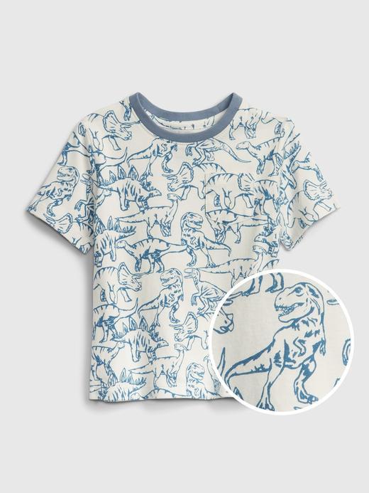 Erkek Bebek Beyaz Kısa Kollu Desenli T-Shirt