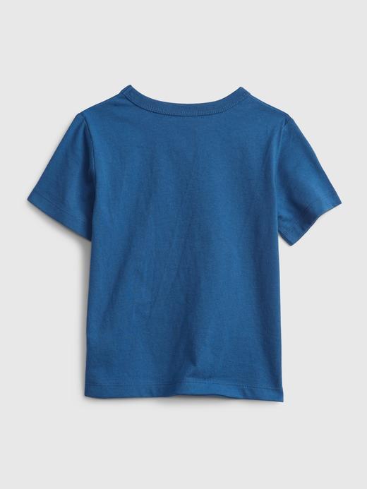 Erkek Bebek Mavi Organik Pamuk  Grafik Desenli T-Shirt