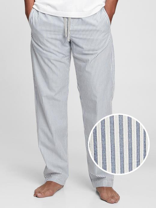 Erkek Mavi Poplin Pijama Altı