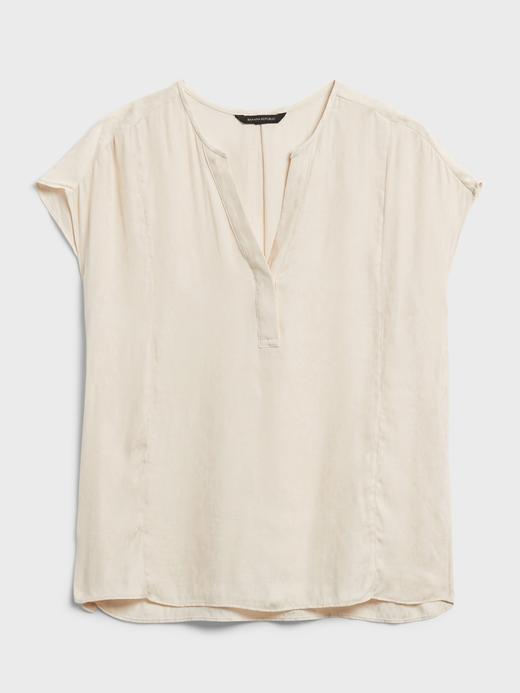 Kadın Bej V Yaka Bluz