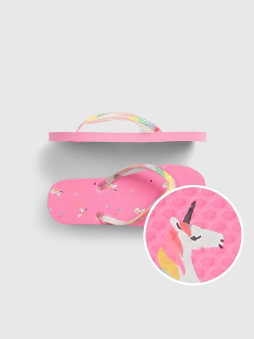 Kız Çocuk Pembe Unicorn  Grafik Desenli Terlik