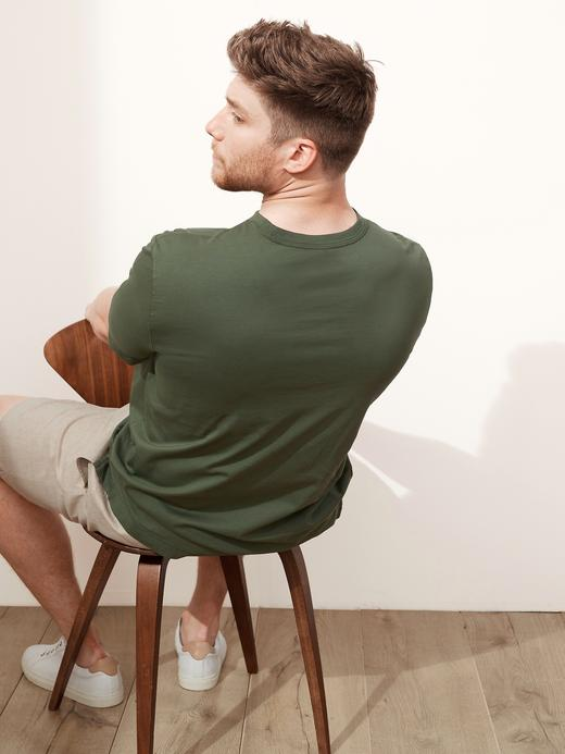Erkek Yeşil Authentic SUPIMA® Yuvarlak Yaka T-Shirt