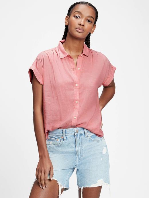 Kadın Pembe Düğme Detaylı Gömlek