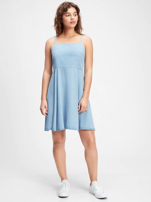 Kadın Mavi İnce Askılı Elbise