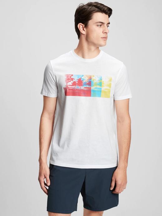 Erkek Beyaz Grafik Desenli T-Shirt