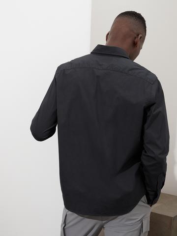Erkek gri Untucked Standart-Fit Organik Poplin Gömlek