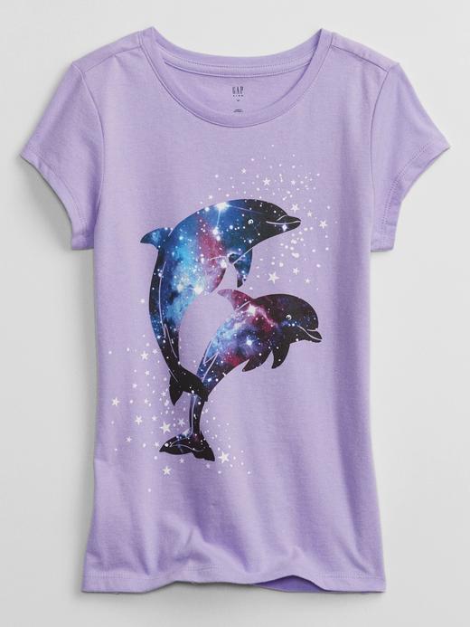 Kız Çocuk Mor Grafik Desenli T-Shirt