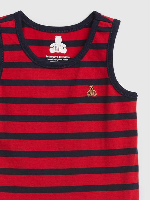 Erkek Bebek Kırmızı Organik Pamuklu Çizgili  Bodysuit