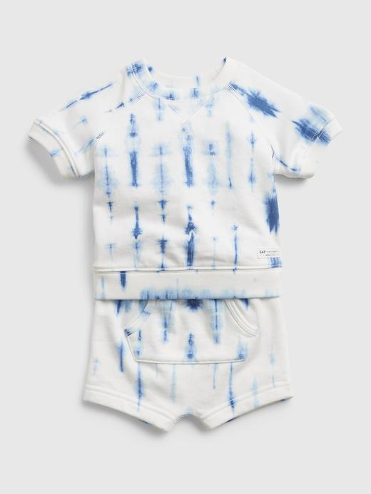 Erkek Bebek Mavi Tie-Dye T-Shirt Takım