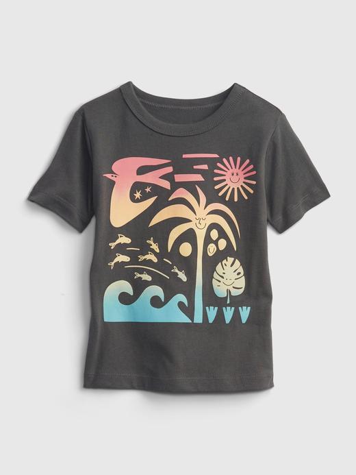 Erkek Bebek Yeşil %100 Organik Pamuk Grafik Desenli T-Shirt