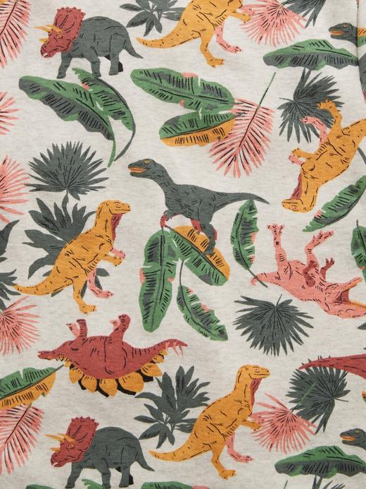 Erkek Çocuk Bej Organik Pamuklu Dinozor Desenli Pijama Takımı