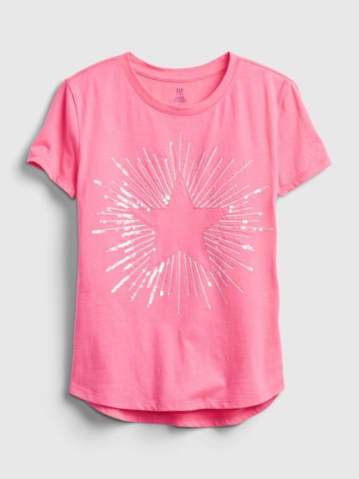 Kız Çocuk Pembe Organik Pamuk  Grafik Desenli T-Shirt