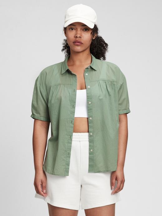 Kadın Yeşil Kısa Kollu Bluz