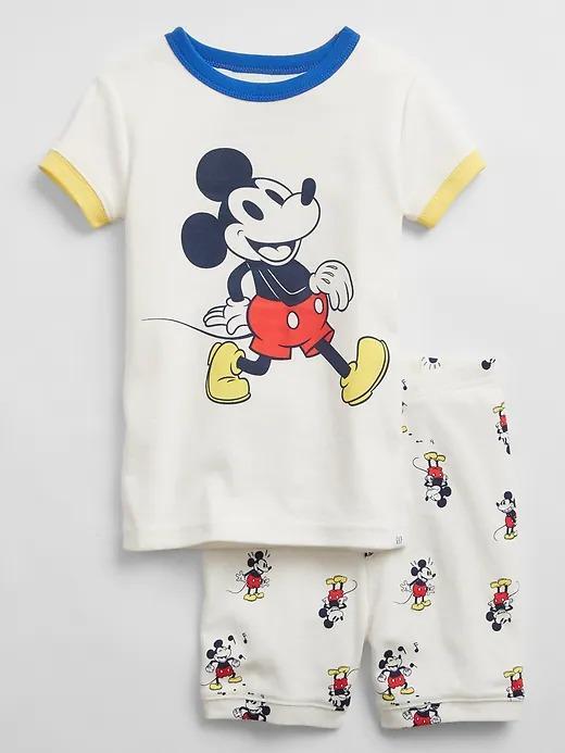 Kız Bebek Beyaz Disney Mickey Mouse Organik Pamuklu Pijama Seti